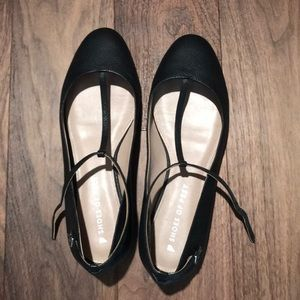 Shoes of Prey ballet flats with ankle strap.
